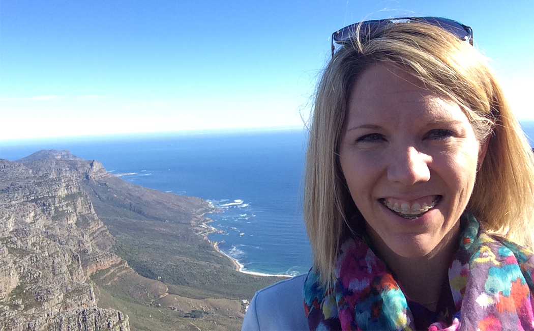 Leslie Hawley, research assistant professor, visits Table Mountain during a recent visit to Cape Town, South Africa. Hawley attended the 2015 International Research Conference for training in international data analysis.