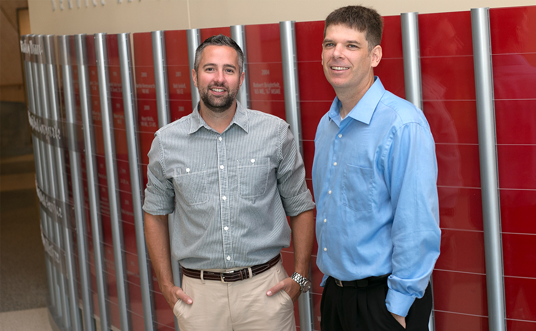 Greg Welch, research associate professor, right, is heading CEHS' Nebraska Bureau for Education Research, Evaluation and Policy, along with Benjamin Baumfalk, graduate assistant. Through the bureau, researchers will conduct education evaluation and policy research from preschool through higher education.