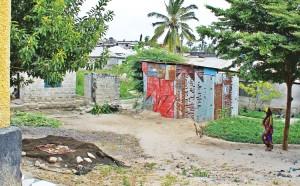 An urban informal resettlement in Dar es Salaam, Tanzania.