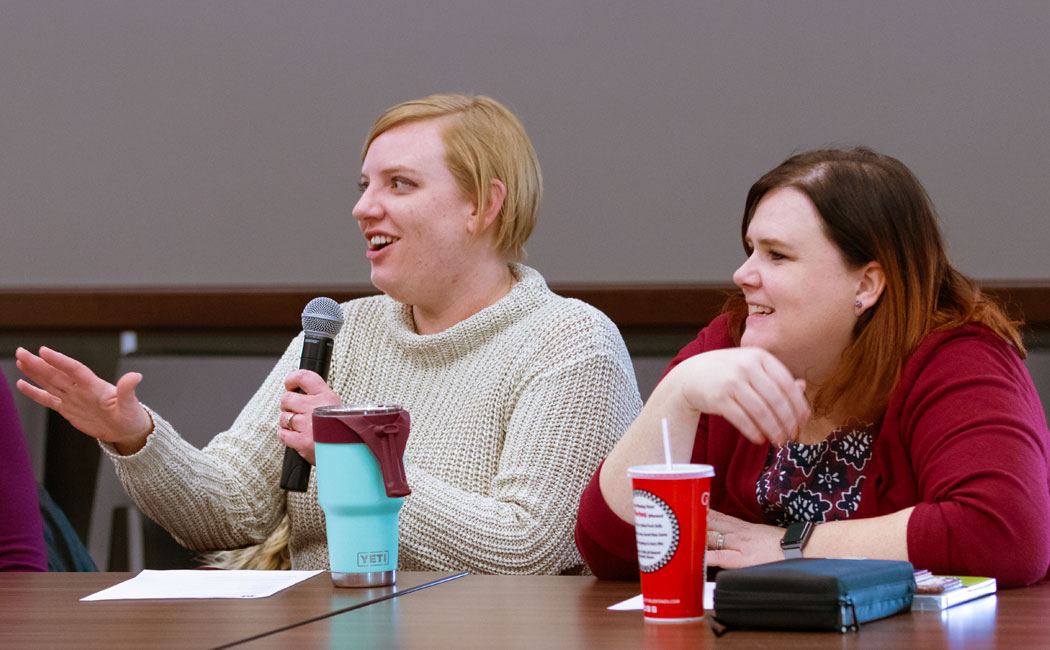 From left, Amanda Prokasky, project coordinator, and Kristen Derr, project manager, answer questions during the Feb. 7 NAECR Knowledge event.