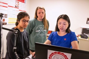 From left, student workers Randa Ismail and Grace Carlson, and YingYing Wang, principal investigator